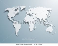 3d vector world illustration with smooth vector shadows and white map of the…