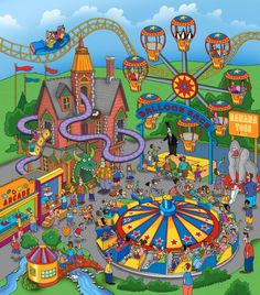 The Amusement Park wall mural by Steve Skelton will add a distinctive touch to any room. Choose from standard sizes or get a custom size to perfectly fit your wall. Ride Drawing, Cartoon House, Murals Your Way, Isometric Art, Amusement Park Rides, Carnival Rides, Hidden Pictures, Puzzle Art, Park Art