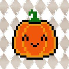 HALLOWEEN PYSSLA schema zucca KAWAII! CUTE pixel art perler beads PATTERN pumpkin *** TUTORIAL: https://youtu.be/kvNHRWaMmPE