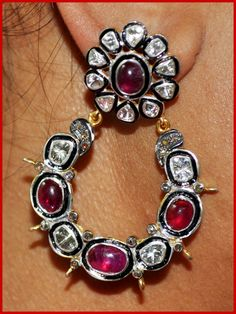 """Sugarmuffin"" Price: $1,120    12.90ct ROSE/UNCUT DIAMOND RUBY GOLD ANTIQUE HOOPS/EARRING♥    Signature Victorian Collection....known for its international taste and appeal!    Imported, world-class quality, not pre-owned, not pawned, not stolen. WE DELIVER WORLDWIDE ♥"