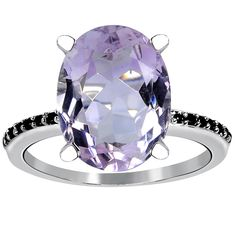 5.15 Carat Weight Genuine Pink Amethyst and Spinel 925 Sterling Silver Ring