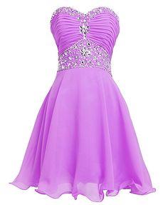 Fashion Plaza Short Chiffon Strapless Crystal Homecoming Dress D0263 (US2, Light Purple)
