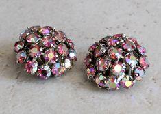 Pink Jewelry, Rhinestone Earrings, Vintage Earrings, Clip On Earrings, Vintage Jewelry, Stud Earrings, Unique Jewelry, Diamond Hoop Earrings, Cluster Earrings