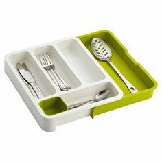 Green & White Expandable DrawerStore Cutlery Tray by Joseph Joseph Utensil Trays, Silverware Tray, Serving Utensils, Utensil Holder, Shops, Joseph Joseph, Custom Closets, Kitchen Drawers, Container Store