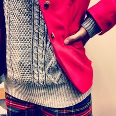 chunky sweater with plaid pants and a red jacket? yeah!