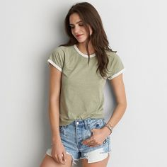 AE Tomgirl T-Shirt ($20) ❤ liked on Polyvore featuring tops, t-shirts, green, lightweight t shirts, american eagle outfitters t shirts, green top, green tee and tailored t shirts