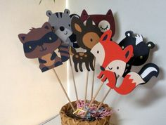 Forest, Woodland Birthday Party supplies, Cupcake Toppers, Set of 12 Animal Decorations, die cuts Fiesta Baby Shower, Baby Shower Parties, Baby Shower Themes, Baby Boy Shower, Shower Ideas, Woodland Baby, Woodland Forest, Woodland Theme, Woodland Critters