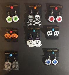 Perler Bead Designs, Easy Perler Bead Patterns, Hama Beads Design, Diy Perler Beads, Perler Bead Art, Deco Haloween, Hama Beads Halloween, Minecraft Banner Designs, Minecraft Crafts
