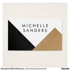 Geometric Black Faux Leather Craft Paper White Business Card #contemporary #geometric #craft #crafts #blackfauxleather #fauxleather #cardboard #interiordesigner #packaging #wrapping #fashiondesigner #beautician #makeupartist #blackleather #modern #artistic #chic #aesthetic #creative #stylist #materials #colorblock #weddingplanner #panels #art #black #businesscards #shop #decorator #recycling #custom #service #triangle #threepanel #new