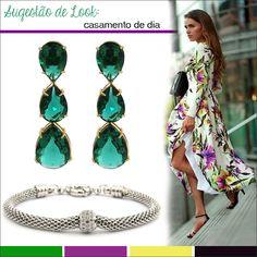 Look casamento de dia!!! Vestidos leves e floridos. Utilize acessórios para destacar a produção!!! Brinco verde esmeralda + pulseira em prata básica!!! Combinação perfeita!!!