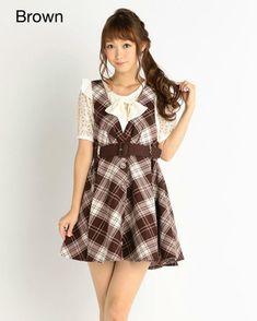 picture of LIZ LISA Tartan Jacquard Pinafore Dress 1