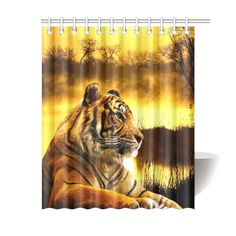 "Tiger and Sunset Shower Curtain 60""x72"". FREE Shipping. FREE Returns."