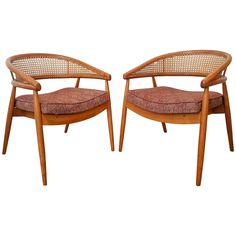 Pair of Beech Cane Chairs Attributed to James Mont   From a unique collection of antique and modern chairs at https://www.1stdibs.com/furniture/seating/chairs/