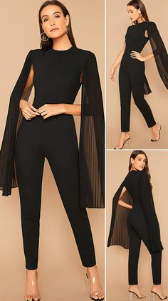Elegant Outfit, Classy Dress, Classy Outfits, Elegant Dresses, Chic Outfits, Black Outfits, Summer Outfits, Long Jumpsuits, Jumpsuits For Women