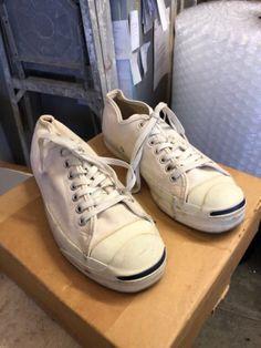 fb034cd9c2de 1980s CONVERSE JACK PURCELL WHITE CANVAS Shoes SNEAKERS USA Sz 7.5 Vintage  White Canvas Shoes