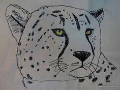 """Genähmalter (= mit der Nähmaschine """"gemalter"""") Gepard, 30 x 40cm. Alle Fellflecken sind einzeln genähmalt worden//Cheetah """"drawn"""" with the sewing machine, size 30 x 40cm, each one of the spots was """"drawn"""" separately."""