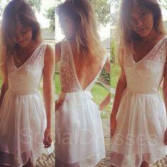 Exquisite White Lace A-line V-neck Neckline Mini Prom Dress Graduation Dress on Etsy, $157.99