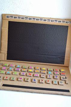 Millie and Ubu: DIY Chalk & Cardboard Computer / Un ordinateur en carton qui fai., I love working together with cardboard. Cardboard sneaks into y, Kids Crafts, Cardboard Crafts Kids, Cardboard Toys, Paper Crafts, Cardboard Box Ideas For Kids, Cardboard Playhouse, Cardboard Furniture, Cardboard Kitchen, Cardboard Box Houses