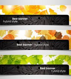 Set of hybrid style vector banner 04