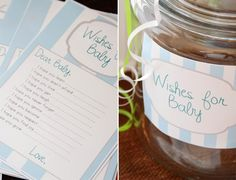 """Wishes for Baby"" jar for baby shower. We had a similar jar at our wedding so it would be fun to have one for baby as well."