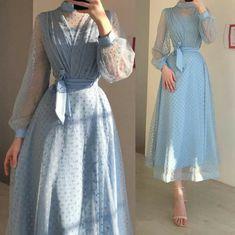Street Hijab Fashion, Abaya Fashion, Muslim Fashion, Girls Fashion Clothes, Fashion Dresses, Applique Cocktail Dress, Hijab Evening Dress, Simple Dresses, Chiffon Dress
