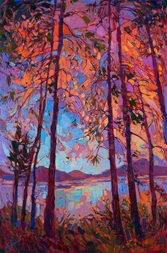 New contemporary style of painting a modern impressionist landscape.