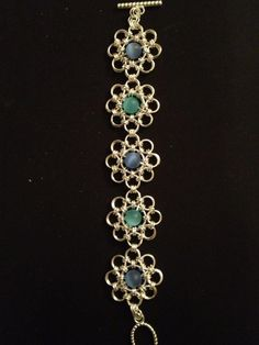Galactic Seas; Japanese 12-in-2 weave with #beads. #Maille