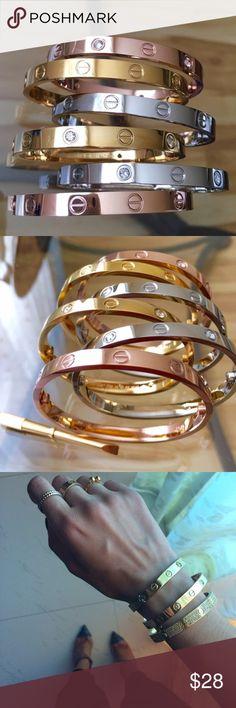 🆕 Titanium Steel Love Bracelets +Screwdriver Gold 🌞 LONG WEEKEND PRICE DROP ONLY 🌞 BRAND NEW  🔹TITANIUM STEEL Love Bracelets with Matching Screwdrivers 🔧🔩 for ONLY $28 or 3/$70!    🔹Unisex Sizes-16cm, 18cm, 20cm 🔹Each bracelet comes sealed + Velour Dust bags   🚫 this is a BUNDLE listing 🚫 ⭐️ Love Bracelets with Screwdriver Gold    💎 Follow me on Instagram @trumpetjewels1 Alexander McQueen Jewelry Bracelets