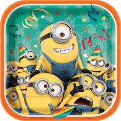 Despicable Me Minions Square Paper Dessert Plates 7in 8ct