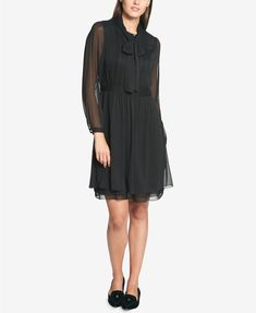 Tommy Hilfiger Tie-Neck Shirtdress, Created for Macy's | macys.com