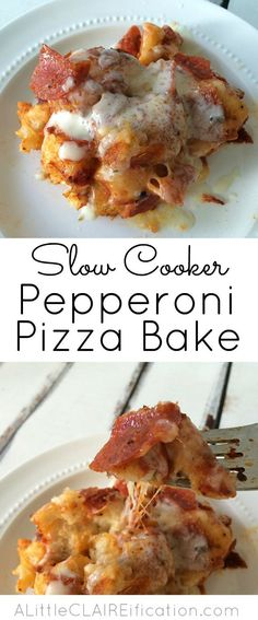 Slow Cooker Pepperoni Pizza Bake - an easy crockpot recipe inspired by one of our favorites - 6