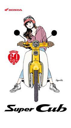 Super Cub × HISASHI EGUCHI C90 Honda, Honda Cub, Motorcycle Posters, Motorcycle Art, Queen Poster, Bike Sketch, Manga Illustration, Bike Design, Japanese Art