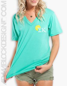 Sigma Kappa - When Life Gives You Lemons (Mint V-Neck) by ABD BlockBuy! Just $22 each plus shipping until February 25th. | Adam Block Design | Custom Greek Apparel & Sorority Clothes | www.adamblockdesign.com