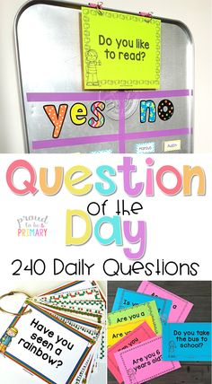 Need a fun classroom management activity to get kids focused and ready for the day? Teachers can set-up a DIY Question of the Day board with a drip pan and a few simple materials or in a pocket chart or on a whiteboard. Kids will love reading the different questions posted each school day! #proudtobeprimary