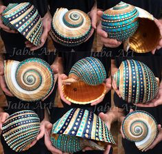 Xxl shell Aumakua sizes: 20 cm(7.9 inch) by 18 cm(7 inch) by 15cm(5.9 inch) This beautiful shell is truly unique, signed in the inside Acrylic paints with a layer of varnish 2017