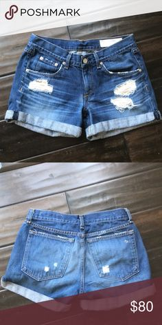 Rag & Bone boyfriend distressed shorts Excellent condition. Relaxed fit. Fit like a 25/26. Smokefree home. No trades. rag & bone Shorts Jean Shorts