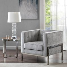 Grey Fabric Square Box Silver Leg Accent Chair