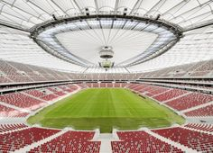 Completed in 2011 in Warsaw, Poland. Images by Marcus Bredt. In Poland and Ukraine will be hosting the UEFA European Football Championship. For the occasion, a new national stadium will be built in Warsaw. Uefa Football, Football Stadiums, Football Players, Premier League, Sport Park, Soccer Stadium, National Stadium, Euro 2012, Football Pictures