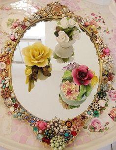 Stunning jeweled mirror tray