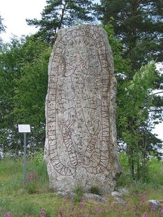 Viking rune stone, Upplands, Sweden - ca. 11th century. Rune stones began as a Christian tradition among Danish vikings, but spread and intensified in fashion in Sweden.