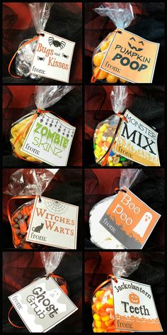 Free Halloween Treat Bag Tags - Kreative in Life I love giving treat bags to coworkers, neighbors and friends. When my kids were younger, we would always BOO families in our neighborhood too. Aren't holidays fun? Today we are sharing these cute treat bag Halloween Gift Baskets, Halloween Goodies, Halloween Food For Party, Halloween Desserts, Halloween Birthday, Halloween Boo, Halloween Gifts, Holidays Halloween, Halloween Decorations