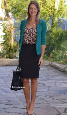 Work look – look of the day – corporate look – fashion at work – work outfit – office outfit – spring outfit – executive look – summer look – summer outfit – black pencil skirt – black – Black – Green blazer – green – animal print Office Outfits Women, Casual Work Outfits, Work Attire, Work Casual, Classy Outfits, Summer Outfits, Summer Fashions, Work Fashion, Trendy Fashion