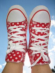 Red polka dot high tops