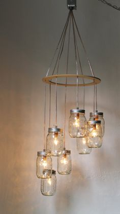 Valentines Day Heart Shaped Mason Jar Chandelier Light - Romantic Wedding Swag Light Fixture - Rustic Industrial BootsNGus Lamp Design