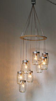Valentines Day Heart Shaped Mason Jar Chandelier Light - Romantic Wedding Swag Light Fixture - Rustic Industrial BootsNGus Lamp Design