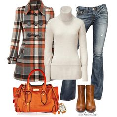 Fall Outfits | Autumn Plaid ... {nice to see GREY with orange and not just browns!}