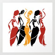 Abstract African dancers silhouette. Figures of african women. Art Print by…