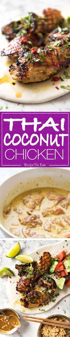 Thai Coconut Chicken - Chicken marinated in a sensational Thai coconut marinade. Great for BBQ, stove or roasting. www.recipetineats.com
