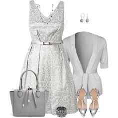 """""""Gray V-Neck Dress"""" by daiscat on Polyvore"""