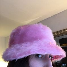 6dae94e5 Sassy baby pink furry fur bucket hat (fully lined in baby pink satin!! Depop